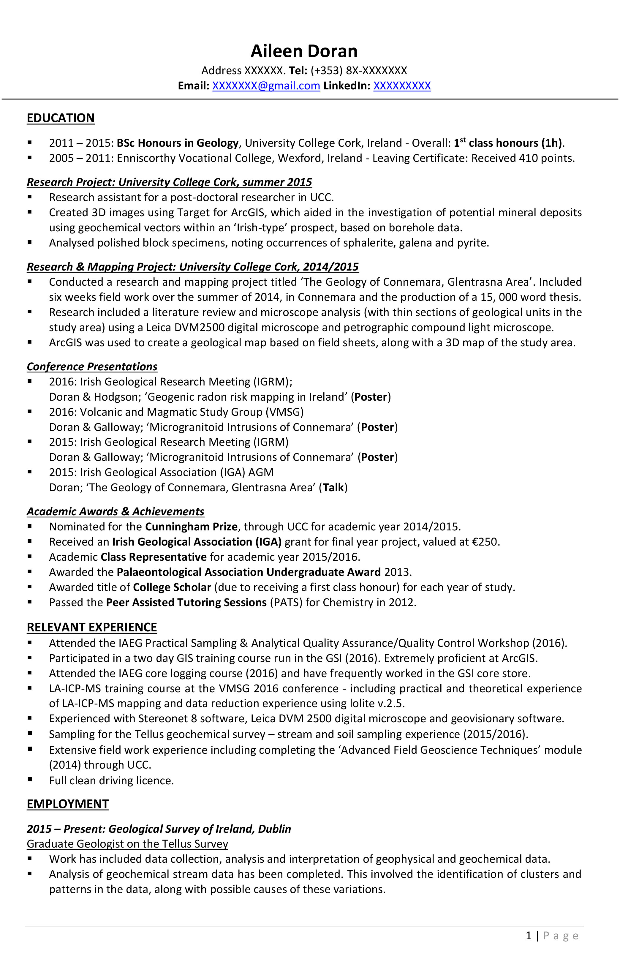 Good resume for phd application
